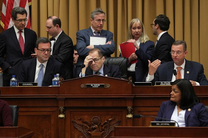 Rep. Doug Collins, R-Ga., right, speaks as Nadler, center, listens during the Corey Lewandowski hearing before the House Judiciary Committee on Sept. 17. (Photo: Alex Wong/Getty Images)