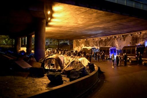 Officials said 1,600 migrants were removed from the makeshift camps set up under the ring road that surrounds Paris