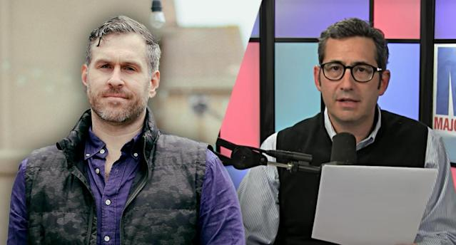 Michael Cernovich, Sam Seder. (Yahoo News photo illustration; photos: Sandy Huffaker via ZUMA Wire; Sam Seder)