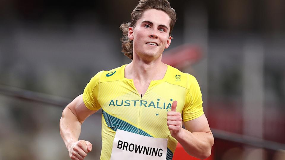 Rohan Browning, pictured here after winning his 100m heat at the Tokyo Olympics.