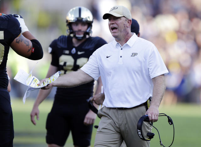 Purdue coach Jeff Brohm pulled out a creative play call against Rutgers. (AP Photo/Michael Conroy)