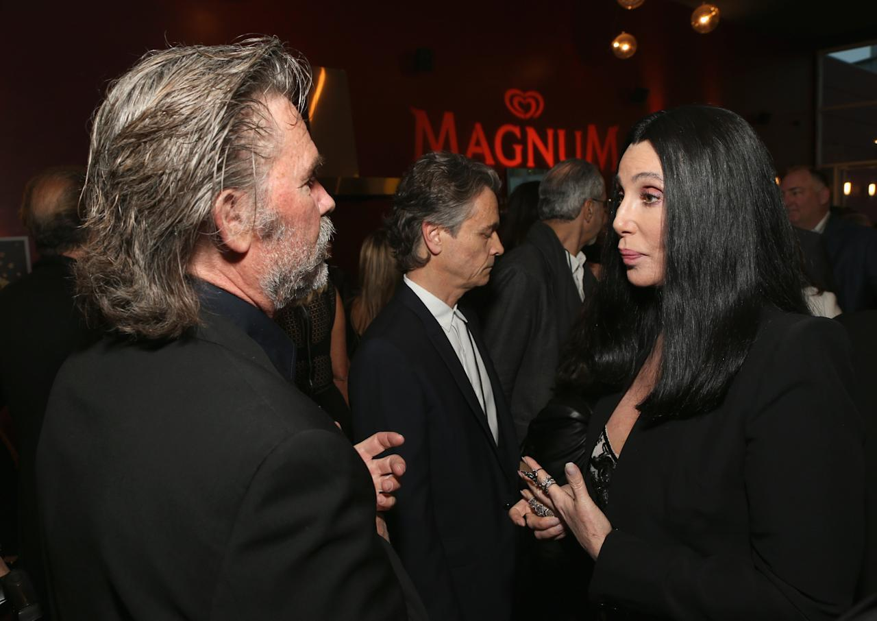 HOLLYWOOD, CA - APRIL 24: (L-R) Actors Kurt Russell and Cher attend Target Presents AFI's Night at the Movies at ArcLight Cinemas on April 24, 2013 in Hollywood, California.  (Photo by Jesse Grant/Getty Images for AFI)