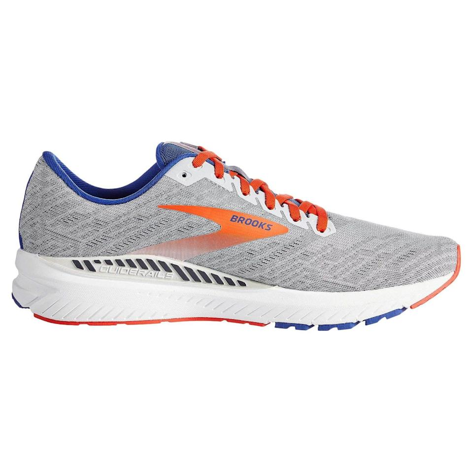 """<p><strong>Brooks</strong></p><p>amazon.com</p><p><strong>$84.95</strong></p><p><a href=""""https://www.amazon.com/dp/B07W147J6B?tag=syn-yahoo-20&ascsubtag=%5Bartid%7C2141.g.36533538%5Bsrc%7Cyahoo-us"""" rel=""""nofollow noopener"""" target=""""_blank"""" data-ylk=""""slk:Shop Now"""" class=""""link rapid-noclick-resp"""">Shop Now</a></p><p>It can be difficult to find a shoe that provides both stability and a snappy, responsive feel, but the Ravenna delivers both with grace. Lightweight and bouncy, this shoe is designed to go fast while keeping your arches supported. </p><p><a class=""""link rapid-noclick-resp"""" href=""""https://www.amazon.com/Brooks-Mens-Ravenna-Running-Shoe/dp/B07VVR77JX/ref=sr_1_2?dchild=1&keywords=brooks+ravenna&qid=1621603904&sr=8-2&tag=syn-yahoo-20&ascsubtag=%5Bartid%7C2141.g.36533538%5Bsrc%7Cyahoo-us"""" rel=""""nofollow noopener"""" target=""""_blank"""" data-ylk=""""slk:Buy Men's"""">Buy Men's</a></p>"""