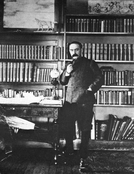 This late 1800's photo from a collection in the Library of Congress shows author Rudyard Kipling in the library of the home he named Naulakha in Dummerston, Vt. Kipling scholars from the United Kingdom and the U.S. will be at Vermont's Marlboro College Monday and Tuesday, Oct. 7 and 8, 2013, for the first-ever meeting of the Kipling Society outside the U.K. (AP Photo/Library of Congress)