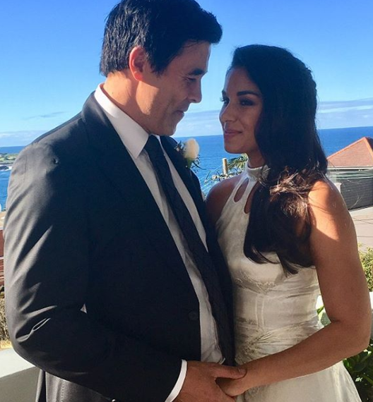 Home and Away stars James Stewart and Sarah Roberts at their first wedding ceremony in Sydney, Australia