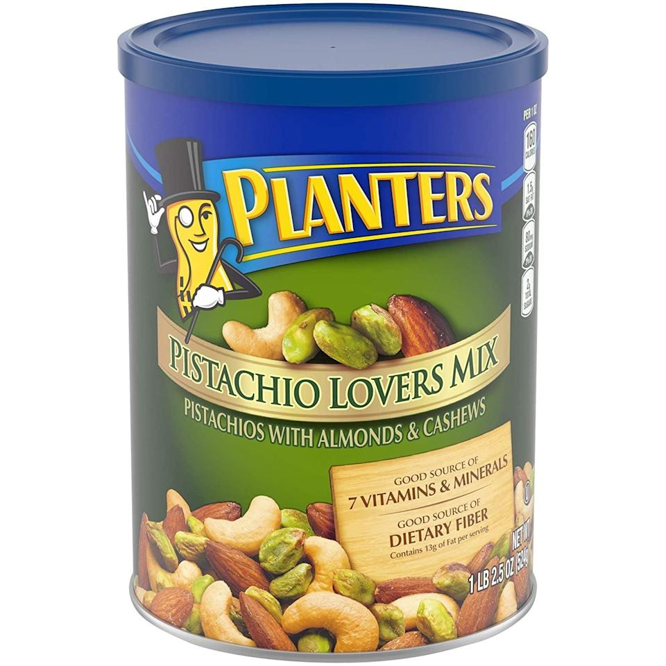 <p>If you love salty snacks, you can't go wrong with this <span>Planters Pistachio Lover's Mix</span> ($12).</p>