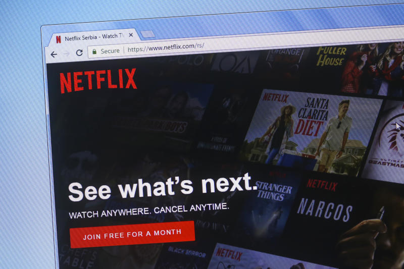 Homepage of Netflix, a popular media streaming website.