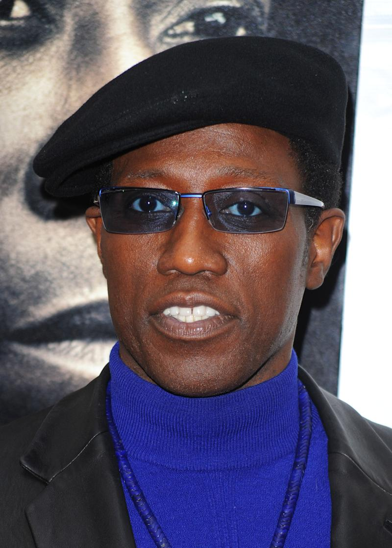 """FILE - In this March 2, 2010 file photo, Wesley Snipes attends the premiere of """"Brooklyn's Finest"""" in New York. (AP Photo/Peter Kramer, file)"""