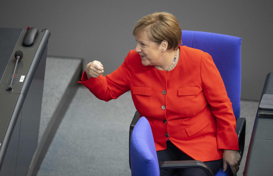 Berlin: Chancellor Angela Merkel giving a government declaration at the Bundestag on Germany's priorities for its upcoming presidency of the European Council on 18 June. Photo: Jan-Philipp Burmann/City-Press GmbH via Getty