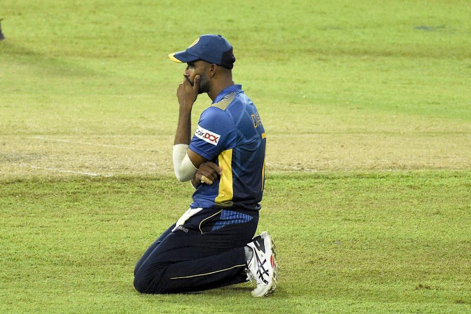 Sri Lanka's cricket captain Dasun Shanaka reacts during the second one-day international (ODI) cricket match between Sri Lanka and India at the R.Premadasa Stadium in Colombo on July 20, 2021. (Photo by ISHARA S. KODIKARA / AFP) (Photo by ISHARA S. KODIKARA/AFP via Getty Images)