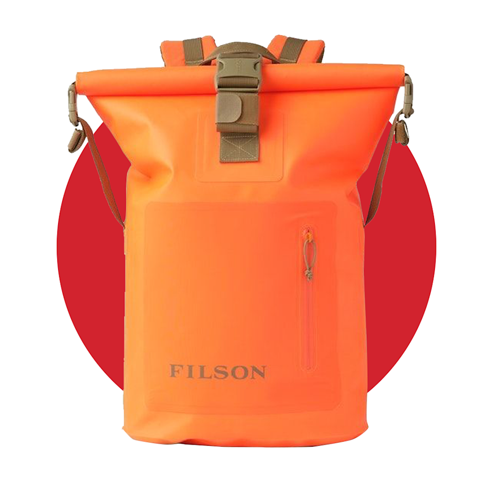 """<p><strong>filson</strong></p><p>filson.com</p><p><strong>$175.00</strong></p><p><a href=""""https://go.redirectingat.com?id=74968X1596630&url=https%3A%2F%2Fwww.filson.com%2Fbags-luggage%2Fbackpacks%2Fdry-roll-top-backpack.html&sref=https%3A%2F%2Fwww.menshealth.com%2Ftechnology-gear%2Fg36954813%2Fmens-health-outdoor-awards-2021%2F"""" rel=""""nofollow noopener"""" target=""""_blank"""" data-ylk=""""slk:BUY IT HERE"""" class=""""link rapid-noclick-resp"""">BUY IT HERE</a></p><p>Whether you're going river rafting or on a water hike in the future, there's no doubt a waterproof backpack like this one is a must for anyone heading outside. This tough, roll-top bag will keep all your things dry—even when it's fully submerged.</p>"""