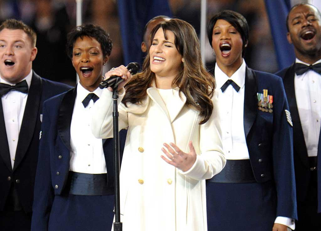 "On the field, ""Glee's"" Lea Michele showed off her pipes by belting out a lovely rendition of ""America the Beautiful"" for the crowd. ""OMG THAT WAS AN OUT OF BODY EXPERIENCE!!!!!"" Lea tweeted afterwards. ""SO AMAZING!!! WHAT AN HONOR AND JOY!!!!"" Kevin Mazur/<a href=""http://www.wireimage.com"" target=""new"">WireImage.com</a> - February 6, 2011"