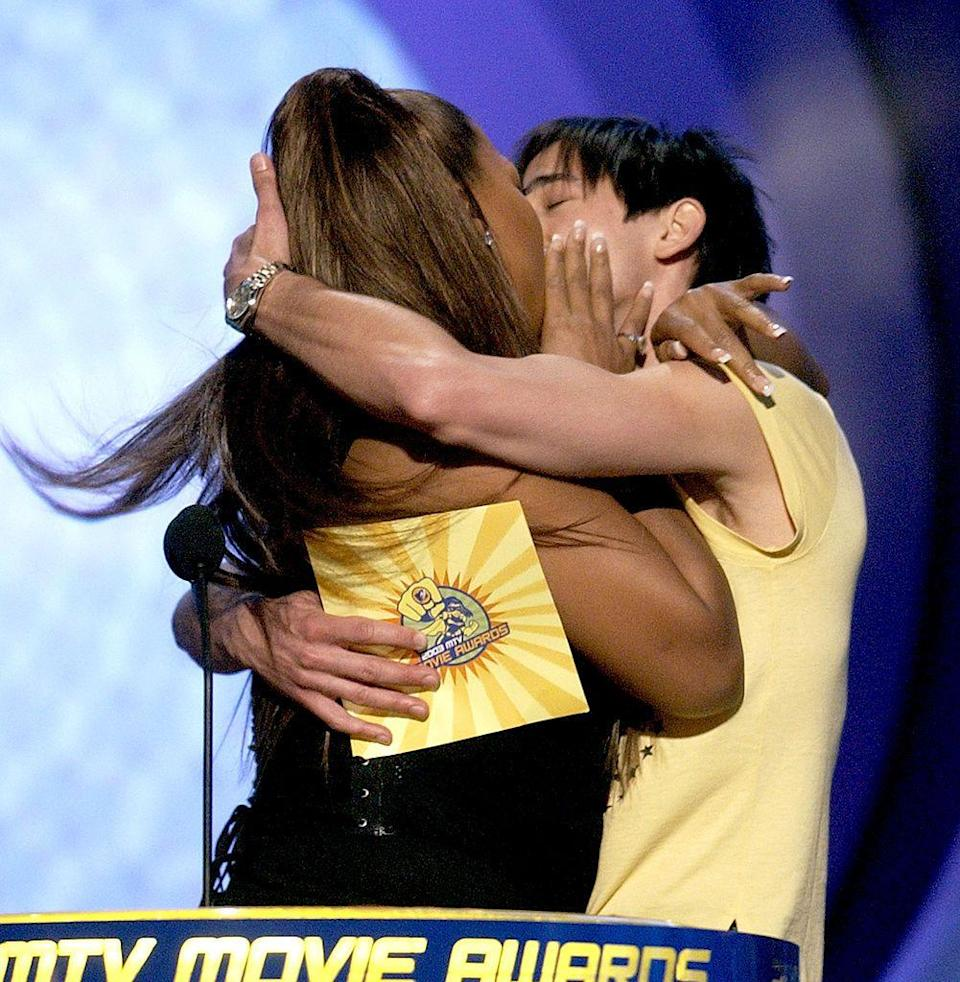 <p>The presenters kissed before announcing the winner of the Best Kiss award, Kirsten Dunst and Tobey Maguire for that upside-down Spiderman kiss. You know the one.</p>