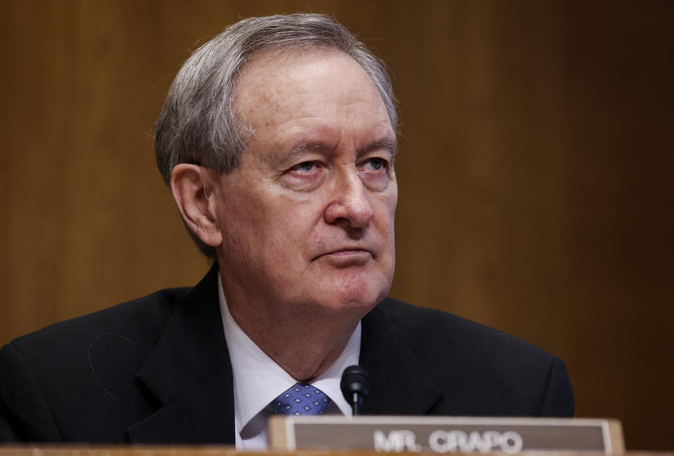 Sen. Mike Crapo, R-Idaho, listens during a Senate Finance Committee hearing on the IRS budget request on Capitol Hill in Washington, Tuesday, June 8, 2021. (Evelyn Hockstein/Pool via AP)