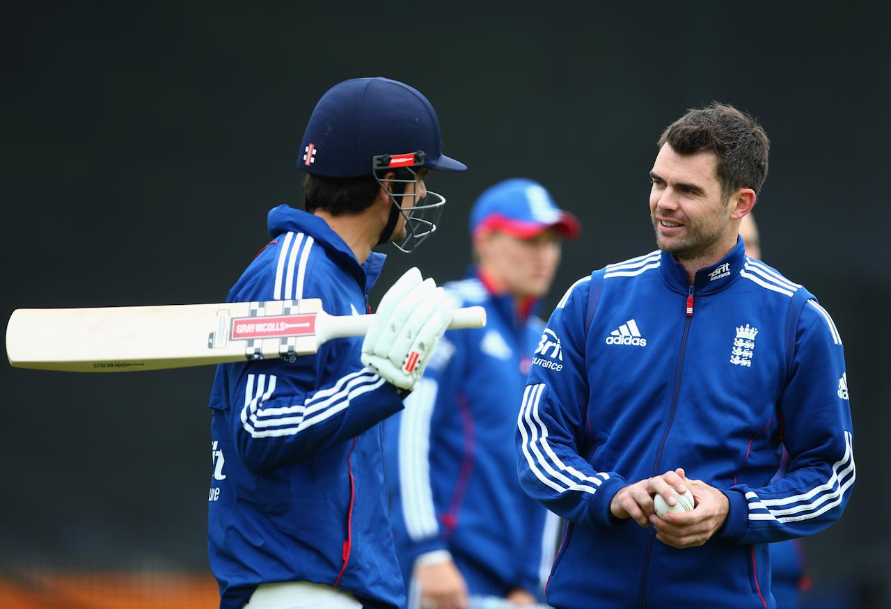 LONDON, ENGLAND - MAY 30:  James Anderson of England talks to Alastair Cook during an England nets session ahead of the one day international series against New Zealand at Lord's Cricket Ground on May 30, 2013 in London, England.  (Photo by Paul Gilham/Getty Images)