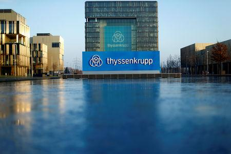 FILE PHOTO: A logo of Thyssenkrupp AG is pictured at the company's headquarters in Essen