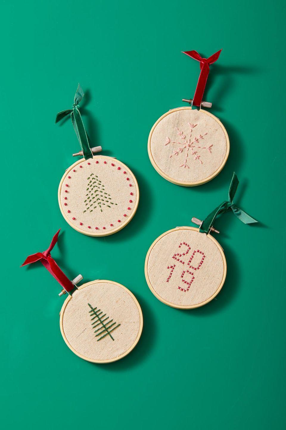 """<p>Can you cross-stitch? If so, you can crewel embroider a festive pattern on a small embroidery hoop, and get that DIY feel onto your tree. </p><p><strong>RELATED</strong>: <a href=""""https://www.goodhousekeeping.com/holidays/christmas-ideas/g393/homemade-christmas-ornaments/"""" rel=""""nofollow noopener"""" target=""""_blank"""" data-ylk=""""slk:The Best Christmas Ornaments to Make This Season"""" class=""""link rapid-noclick-resp"""">The Best Christmas Ornaments to Make This Season</a></p>"""