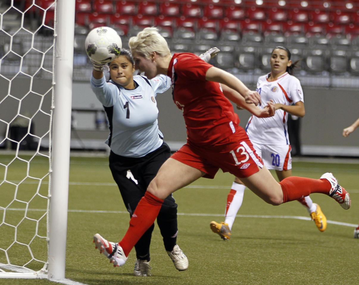 VANCOUVER, CANADA - JANUARY 23:  Sophie Schmidt #13 of Canada just misses with a header against Julieth Arias #1 of Costa Rica during the 2012 CONCACAF Women's Olympic Qualifying Tournament at BC Place on January 23, 2012 in Vancouver, British Columbia, Canada.  (Photo by Jeff Vinnick/Getty Images)