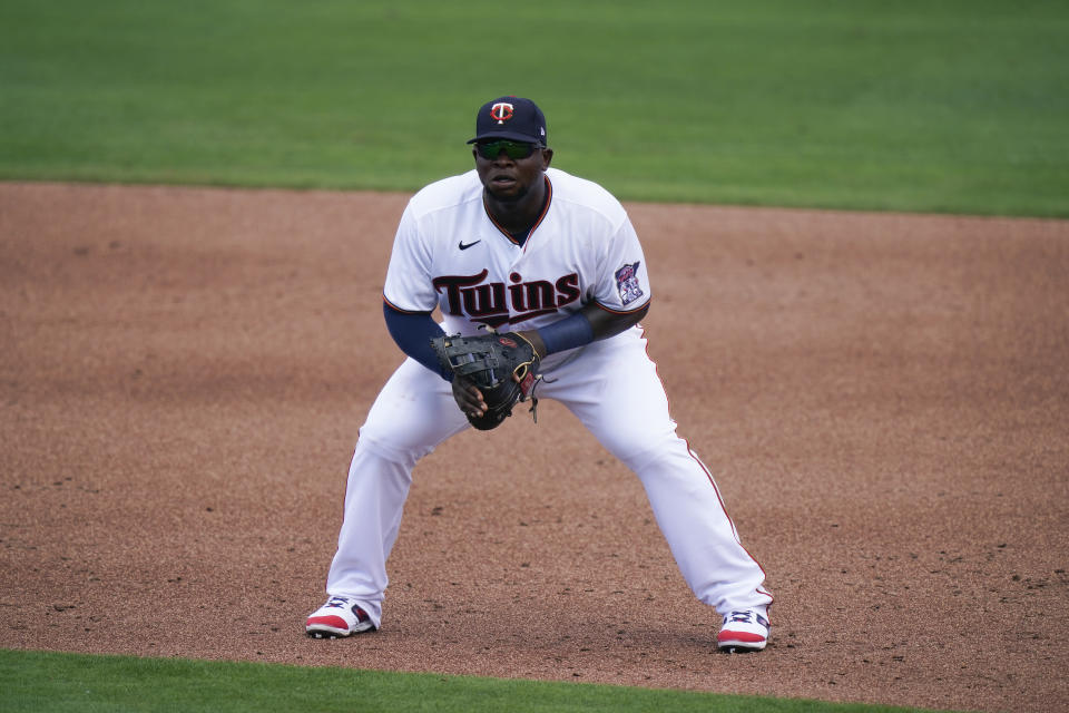 Minnesota Twins' Miguel Sano gets ready for a play on first base in the second inning during a spring training baseball game on Sunday, Feb. 28, 2021, in Fort Myers, Fla. (AP Photo/Brynn Anderson)