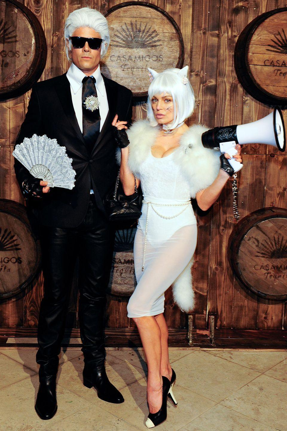 <p>Josh Duhamel and Fergie dressed up as Karl Lagerfeld and his cat, Choupette, to attend the 2015 Casamigos Tequila Halloween party in Los Angeles, California. </p>