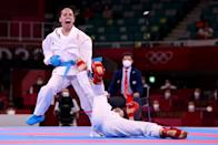 <p>Jovana Prekovic (L) of Team Serbia competes against Yin Xiaoyan of Team China during the Women's Karate Kumite -61kg Gold Medal Bout on day fourteen of the Tokyo 2020 Olympic Games at Nippon Budokan on August 06, 2021 in Tokyo, Japan. (Photo by Harry How/Getty Images)</p>