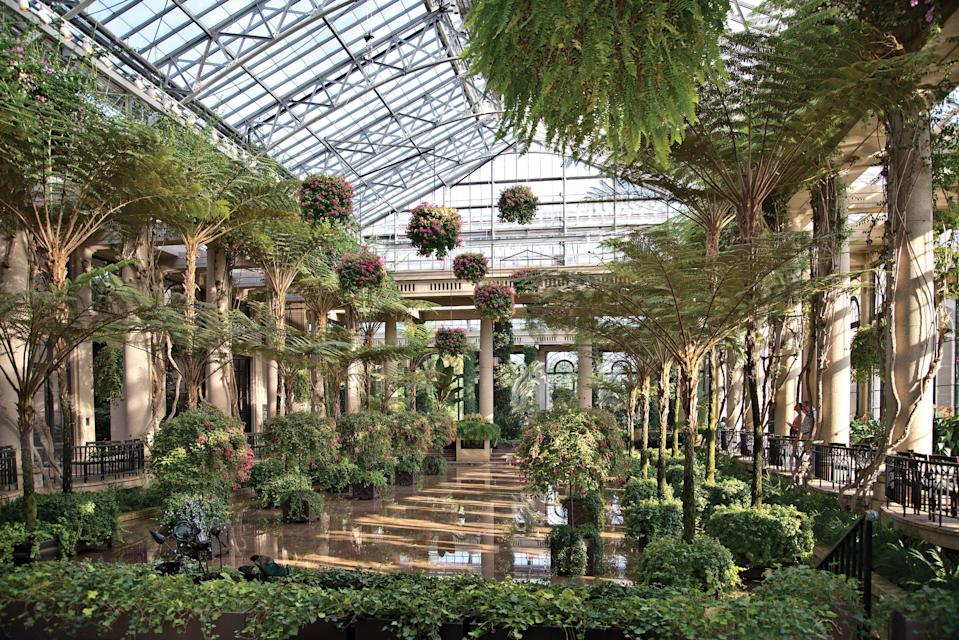 Longwood Gardens in Kennett Square, Pennsylvania, has 4.5 acres of greenhouses, including this Main Conservatory, completed in 1921.