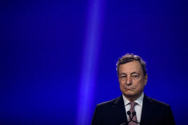 ROME, ITALY - JUNE 22: Italian Prime Minister Mario Draghi and European Commission President Ursula von der Leyen (not in picture) hold the press conference on the National Recovery and Resilience Plan (NRRP) at Cinecittà cinema Studios, on June 22, 2021 in Rome, Italy. Today, Italian Prime Minister Mario Draghi met the President of the European Commission Ursula von der Leyen at Rome's iconic Cinecittà cinema studios to express the opinion on the Italian national recovery and resilience plan (NRRP or PNRR). Von der Leyen is currently on a trip to visit all 27 European Union member states as EU-funded recovery projects launch to help the regions recover from the economic consequences of the Covid-19 pandemic. (Photo by Antonio Masiello/Getty Images) (Photo: Antonio Masiello via Getty Images)