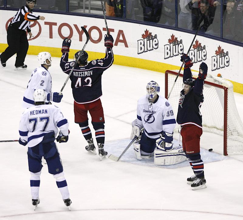 Letestu's late PP goal lifts Blue Jackets, 3-2