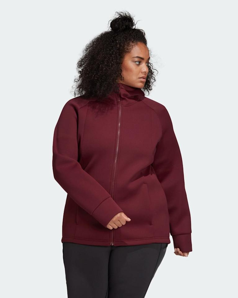 """In partnership with Universal Standard, adidas <a href=""""https://www.adidas.com/us/universal_standard"""" rel=""""nofollow"""">introduced a collection</a> available in sizes XS through 4XL, the first time the activewear brand offers pieces in proper plus sizes. The capsule includes a hoodie, top, tank, cropped mesh tee, legging, and a bike short in four different colors. All pieces are under $100. $90, adidas. <a href=""""https://www.adidas.com/us/adidas-x-universal-standard-performance-hoodie-sizes-1x---4x/FJ7482.html"""">Get it now!</a>"""