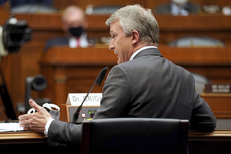 Richard Bright, former director of the Biomedical Advanced Research and Development Authority, testifies during a House Energy and Commerce Subcommittee on Health hearing Thursday, May 14, 2020, on Capitol Hill in Washington. (Greg Nash/Pool via AP)