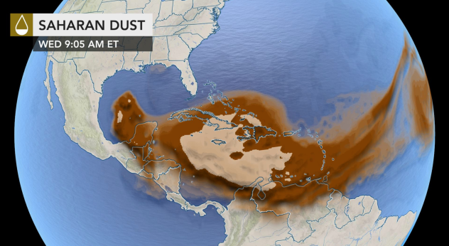 A massive dust cloud from the Sahara Desert is poised to overspread the U.S. Gulf Coast the next few days.