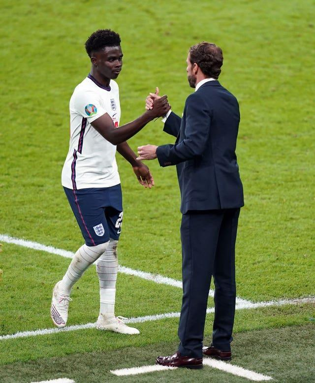 Bukayo Saka made four appearances for Gareth Southgate's side in the finals