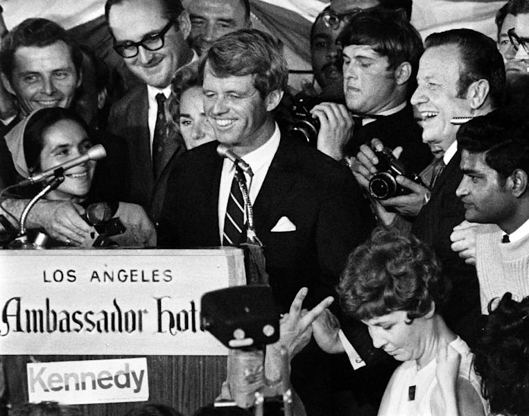 Robert F. Kennedy at the Ambassador Hotel in Los Angeles June 5, 1968 moments before he was shot in the head at close range by Sirhan Sirhan (AFP Photo/)