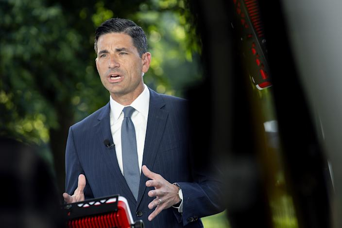 Chad Wolf, acting secretary of the Department of Homeland Security (DHS), speaks during a television interview outside the White House in Washington, D.C., U.S., on Tuesday, June 23, 2020. (Stefani Reynolds/CNP/Bloomberg via Getty Images)