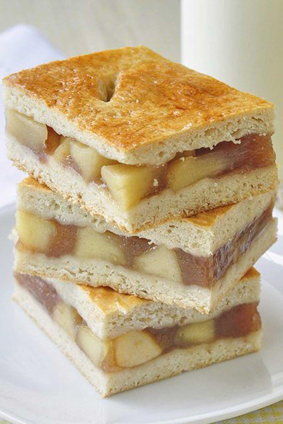 """<p>Dessert has never been so easy to eat, thanks to this apple filling that's sandwiched between two soft pastries.</p><p><strong>Get the recipe at <a rel=""""nofollow noopener"""" href=""""http://www.rockrecipes.com/apple-cobbler-bars/"""" target=""""_blank"""" data-ylk=""""slk:Rock Recipes"""" class=""""link rapid-noclick-resp"""">Rock Recipes</a>.</strong><br></p><p><a rel=""""nofollow noopener"""" href=""""https://www.amazon.com/Hamilton-Beach-70730-Processor-Vegetable/dp/B008J8MJIQ"""" target=""""_blank"""" data-ylk=""""slk:SHOP FOOD PROCESSORS"""" class=""""link rapid-noclick-resp"""">SHOP FOOD PROCESSORS</a></p>"""