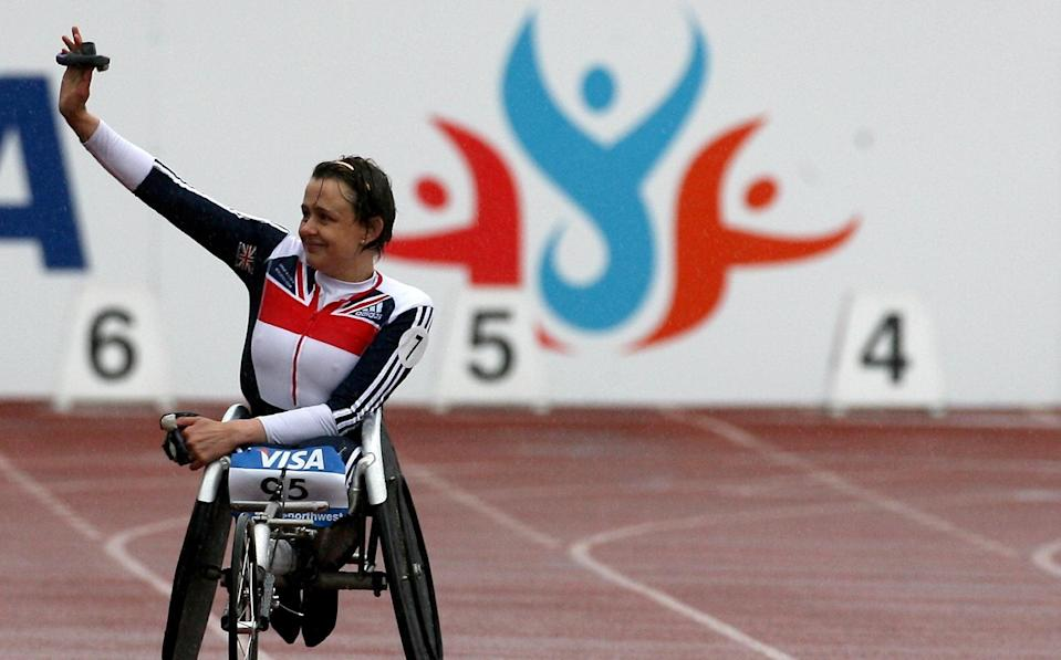 Great Britain's Tanni Grey-Thompson acknowledges the crowd after finishing second in the 200metres T53 event during the Visa Paralympic World Cup at the Manchester Regional Arena, Manchester - PA