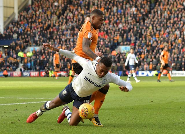 "Soccer Football - Championship - Preston North End vs Wolverhampton Wanderers - Deepdale, Preston, Britain - February 17, 2018 Wolverhampton Wanderers' Ivan Cavaleiro in action with Preston's Darnell Fisher Action Images/Paul Burrows EDITORIAL USE ONLY. No use with unauthorized audio, video, data, fixture lists, club/league logos or ""live"" services. Online in-match use limited to 75 images, no video emulation. No use in betting, games or single club/league/player publications. Please contact your account representative for further details."