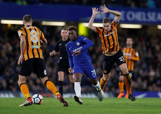 Soccer Football - FA Cup Fifth Round - Chelsea vs Hull City - Stamford Bridge, London, Britain - February 16, 2018 Chelsea's Callum Hudson-Odoi in action with Hull City's Michael Dawson and David Meyler Action Images via Reuters/Paul Childs