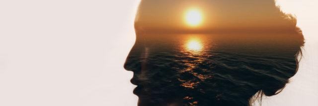 silhouette of a woman and a sunset