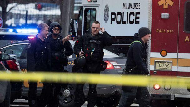 PHOTO: Police and emergency officials work at an active shooter scene at the Molson Coors headquarters in Milwaukee, Feb. 26, 2020. (Milwaukee Journal Sentinel/USA TODAY NETWORK via Reuters)