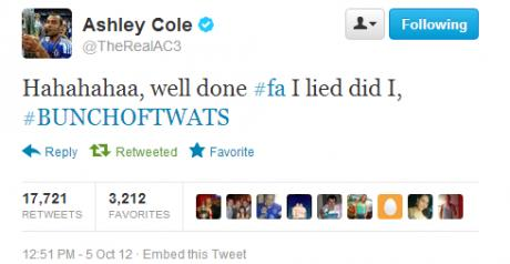 Soccer Star Ashley Cole Charged for Obscene Viral Tweet