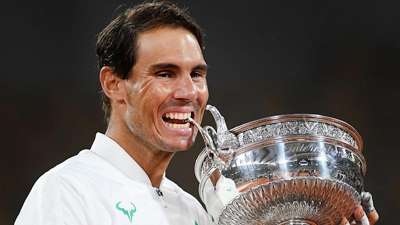 Rafael Nadal is seen here with his 2020 French Open trophy.