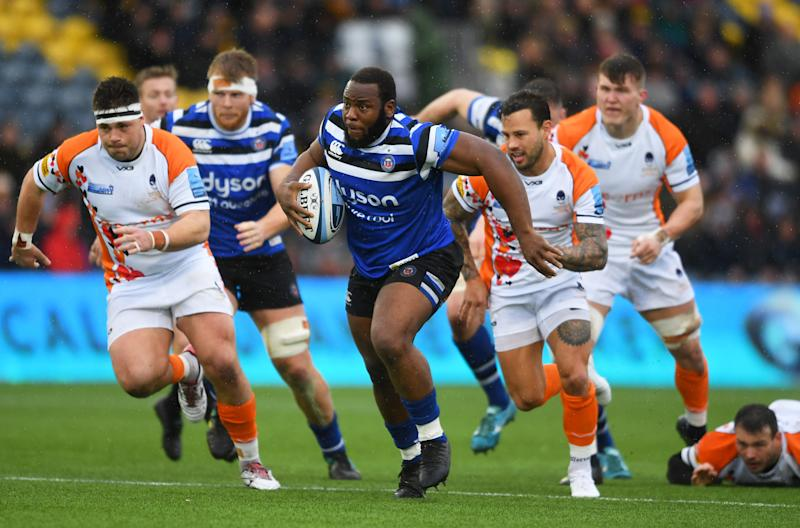 WORCESTER, ENGLAND - FEBRUARY 15: Beno Obano of Bath Rugby breaks with the ball during the Gallagher Premiership Rugby match between Worcester Warriors and Bath Rugby at Sixways on February 15, 2020 in Worcester, England. (Photo by Harry Trump/Getty Images)