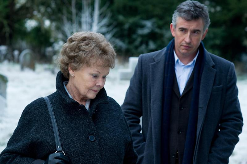 """This image released by The Weinstein Company shows Judi Dench, left, and Steve Coogan in a scene from """"Philomena."""" (AP Photo/The Weinstein Company, Alex Bailey)"""