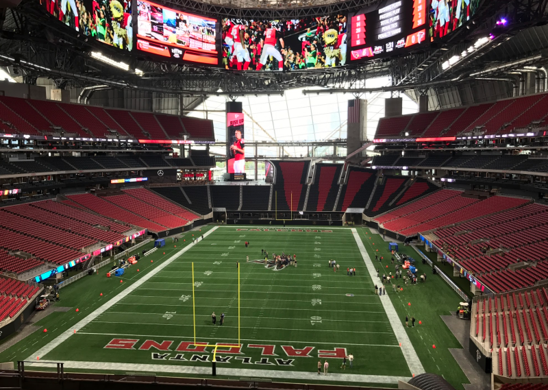 Atlanta falcons 39 new stadium is an impressive marvel for Mercedes benz stadium falcon statue