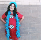 """<p>Give your future Thing 2 a starring role in this easy maternity costume, honoring the mischievous Dr. Seuss characters. DIY the look with a red skirt and tutu, blue boa and matching wig, and felt labels. </p><p><a class=""""link rapid-noclick-resp"""" href=""""https://www.amazon.com/SACASUSA-Turquoise-Feather-Chandelle-size/dp/B00E55D580/?tag=syn-yahoo-20&ascsubtag=%5Bartid%7C10050.g.4972%5Bsrc%7Cyahoo-us"""" rel=""""nofollow noopener"""" target=""""_blank"""" data-ylk=""""slk:SHOP BLUE BOAS"""">SHOP BLUE BOAS</a></p>"""