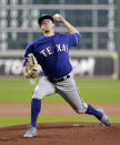 Texas Rangers starting pitcher Kolby Allard throws against the Houston Astros during the first inning of a baseball game Wednesday, Sept. 18, 2019, in Houston. (AP Photo/Michael Wyke)