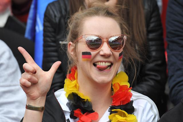 A Germany supporter poses prior to the France 2019 Women's World Cup Group B football match between Germany and China, on June 8, 2019, at the Roazhon Park stadium in Rennes, western France. (Photo by Loic Venance/AFP/Getty Images)