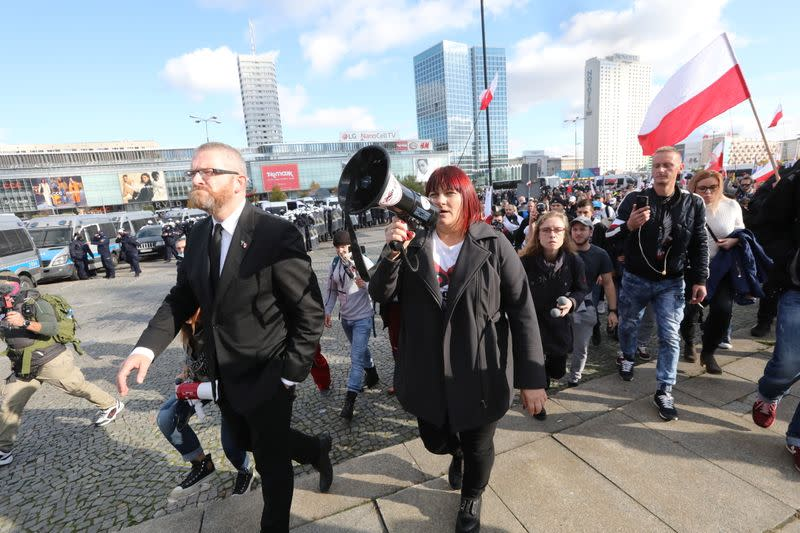 Rally against COVID-19 measures imposed by the Polish government, in Warsaw