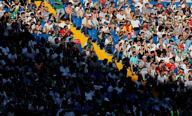 Soccer Football - World Cup - Group A - Uruguay vs Saudi Arabia - Rostov Arena, Rostov-on-Don, Russia - June 20, 2018 Fans during the match REUTERS/Marko Djurica